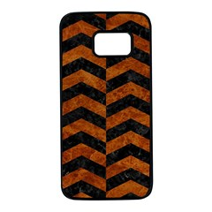 Chevron2 Black Marble & Brown Marble Samsung Galaxy S7 Black Seamless Case