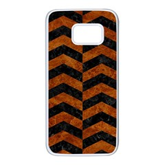 Chevron2 Black Marble & Brown Marble Samsung Galaxy S7 White Seamless Case
