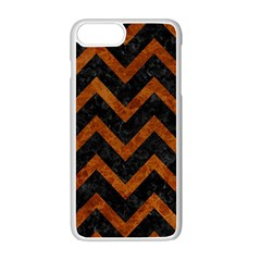Chevron9 Black Marble & Brown Marble Apple Iphone 7 Plus White Seamless Case