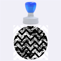 Chevron9 Black Marble & Brown Marble (r) Rubber Stamp Round (large)