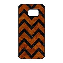 Chevron9 Black Marble & Brown Marble (r) Samsung Galaxy S7 Edge Black Seamless Case
