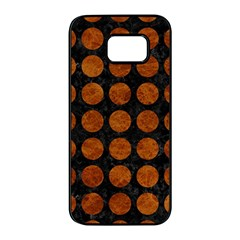 Circles1 Black Marble & Brown Marble Samsung Galaxy S7 Edge Black Seamless Case