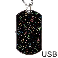 Christmas Decorative Pattern Vector Dog Tag Usb Flash (one Side)