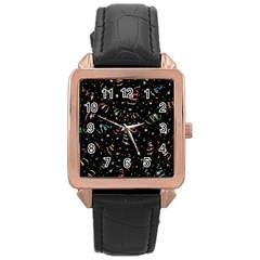 Christmas Decorative Pattern Vector Rose Gold Leather Watch