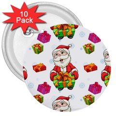 Xmas Patterns  3  Buttons (10 Pack)