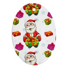 Xmas Patterns  Oval Ornament (two Sides)