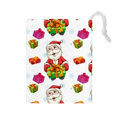 Xmas Patterns  Drawstring Pouches (large)
