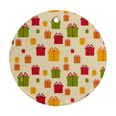 Christmas Gift Box Vector Seamless Pattern Vector Round Ornament (two Sides)