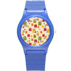 Christmas Gift Box Vector Seamless Pattern Vector Round Plastic Sport Watch (s)