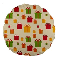 Christmas Gift Box Vector Seamless Pattern Vector Large 18  Premium Round Cushions