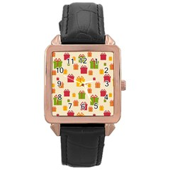 Christmas Gift Box Vector Seamless Pattern Vector Rose Gold Leather Watch