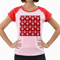 Abstract Christmas Seamless Background Vector Graphic Women s Cap Sleeve T Shirt