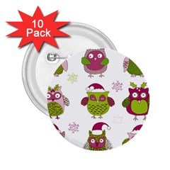 Cartoon Christmas Owl Cute Vector 2 25  Buttons (10 Pack)