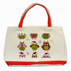Cartoon Christmas Owl Cute Vector Classic Tote Bag (red)