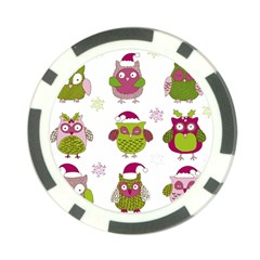 Cartoon Christmas Owl Cute Vector Poker Chip Card Guards