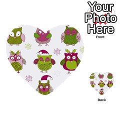 Cartoon Christmas Owl Cute Vector Multi-purpose Cards (Heart)