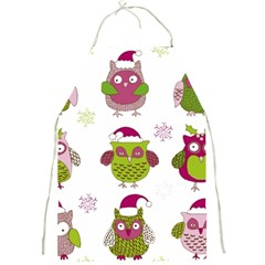 Cartoon Christmas Owl Cute Vector Full Print Aprons