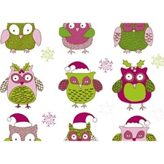 Cartoon Christmas Owl Cute Vector Birthday Cake 3d Greeting Card (7x5)