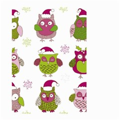 Cartoon Christmas Owl Cute Vector Small Garden Flag (two Sides)