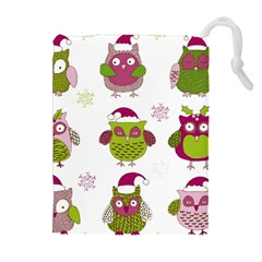 Cartoon Christmas Owl Cute Vector Drawstring Pouches (extra Large)