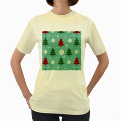 Christmas Tree With Snow Seamless Pattern Vector Women s Yellow T Shirt