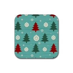 Christmas Tree With Snow Seamless Pattern Vector Rubber Square Coaster (4 Pack)