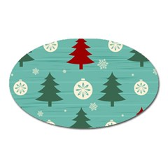 Christmas Tree With Snow Seamless Pattern Vector Oval Magnet