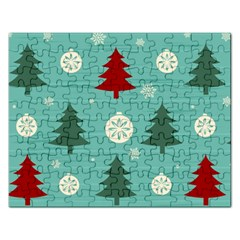 Christmas Tree With Snow Seamless Pattern Vector Rectangular Jigsaw Puzzl