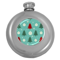 Christmas Tree With Snow Seamless Pattern Vector Round Hip Flask (5 Oz)