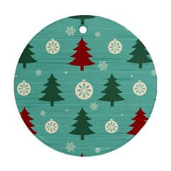 Christmas Tree With Snow Seamless Pattern Vector Round Ornament (two Sides)