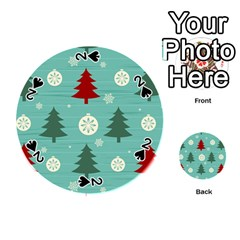 Christmas Tree With Snow Seamless Pattern Vector Playing Cards 54 (round)