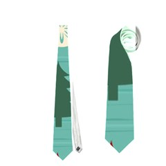 Christmas Tree With Snow Seamless Pattern Vector Neckties (One Side)