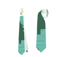 Christmas Tree With Snow Seamless Pattern Vector Neckties (Two Side)