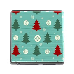 Christmas Tree With Snow Seamless Pattern Vector Memory Card Reader (square)