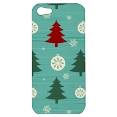 Christmas Tree With Snow Seamless Pattern Vector Apple Iphone 5 Hardshell Case
