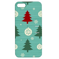 Christmas Tree With Snow Seamless Pattern Vector Apple Iphone 5 Hardshell Case With Stand