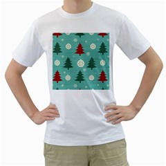 Christmas Tree With Snow Seamless Pattern Vector Men s T Shirt (white)