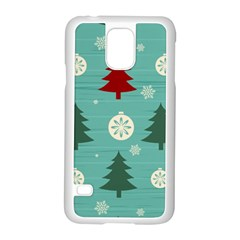 Christmas Tree With Snow Seamless Pattern Vector Samsung Galaxy S5 Case (white)