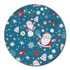 Christmas Stockings Vector Pattern Round Mousepads