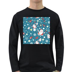 Christmas Stockings Vector Pattern Long Sleeve Dark T Shirts