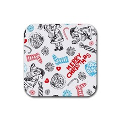 Christmas Doodle Pattern Rubber Coaster (square)