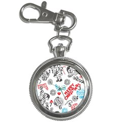 Christmas Doodle Pattern Key Chain Watches