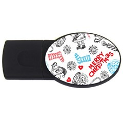 Christmas Doodle Pattern Usb Flash Drive Oval (2 Gb)