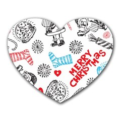 Christmas Doodle Pattern Heart Mousepads