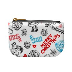 Christmas Doodle Pattern Mini Coin Purses