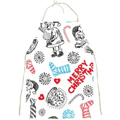 Christmas Doodle Pattern Full Print Aprons