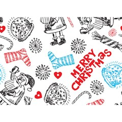 Christmas Doodle Pattern Birthday Cake 3d Greeting Card (7x5)