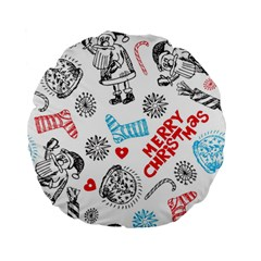 Christmas Doodle Pattern Standard 15  Premium Flano Round Cushions