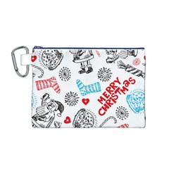 Christmas Doodle Pattern Canvas Cosmetic Bag (m)