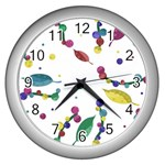 Abstract floral design Wall Clocks (Silver)  Front
